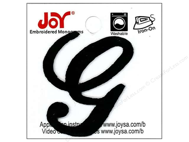 "Joy Lettershop Iron-On Embroidered Letter 1 1/2 in. Script ""G"" Black"