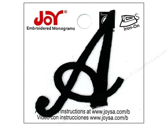 "Joy Lettershop Iron-On Embroidered Letter 1 1/2 in. Script ""A"" Black"