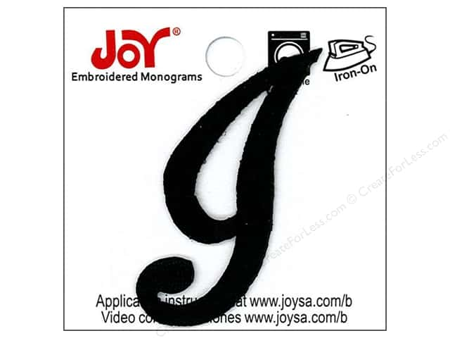 "Joy Lettershop Iron-On Embroidered Letter 1 1/2 in. Script ""I"" Black"