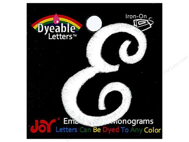 "Joy Lettershop Iron-On Embroidered Letter 1 1/2 in. Script ""E"" Dyeable"