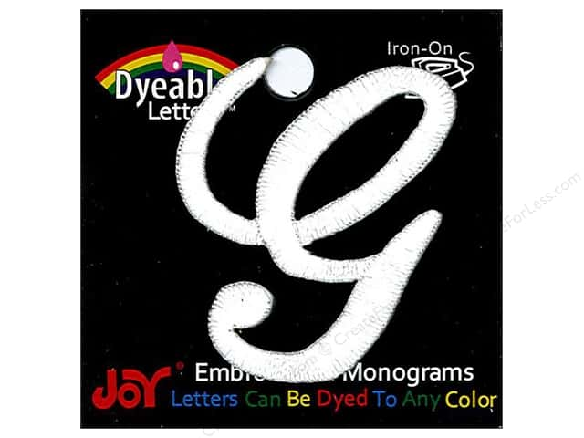 "Joy Lettershop Iron-On Embroidered Letter 1 1/2 in. Script ""G"" Dyeable"