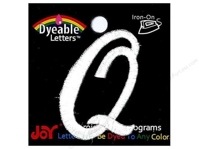 "Joy Lettershop Iron-On Embroidered Letter 1 1/2 in. Script ""Q"" Dyeable"