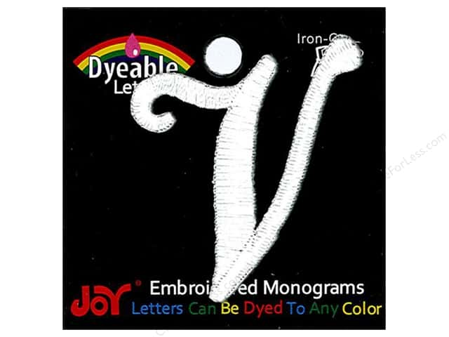 "Joy Lettershop Iron-On Embroidered Letter 1 1/2 in. Script ""V"" Dyeable"