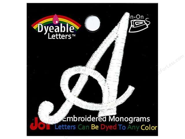 "Joy Lettershop Iron-On Embroidered Letter 1 1/2 in. Script ""A"" Dyeable"