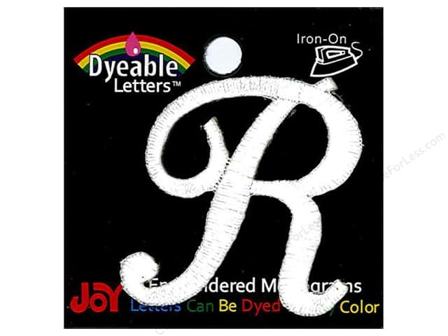 """Joy Lettershop Iron-On Embroidered Letter 1 1/2 in. Script """"R"""" Dyeable"""