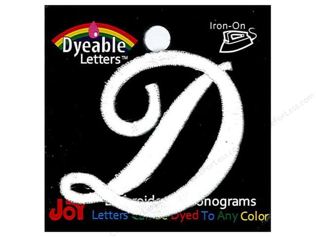 "Joy Lettershop Iron-On Embroidered Letter 1 1/2 in. Script ""D"" Dyeable"