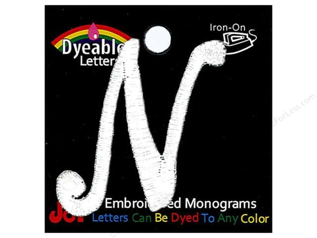 "Joy Lettershop Iron-On Embroidered Letter 1 1/2 in. Script ""N"" Dyeable"
