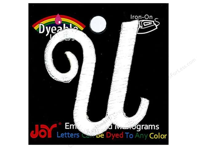 "Joy Lettershop Iron-On Embroidered Letter 1 1/2 in. Script ""U"" Dyeable"