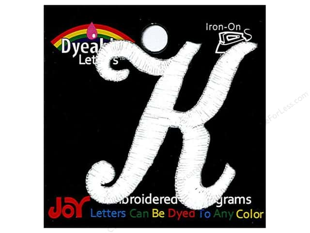 "Joy Lettershop Iron-On Embroidered Letter 1 1/2 in. Script ""K"" Dyeable"