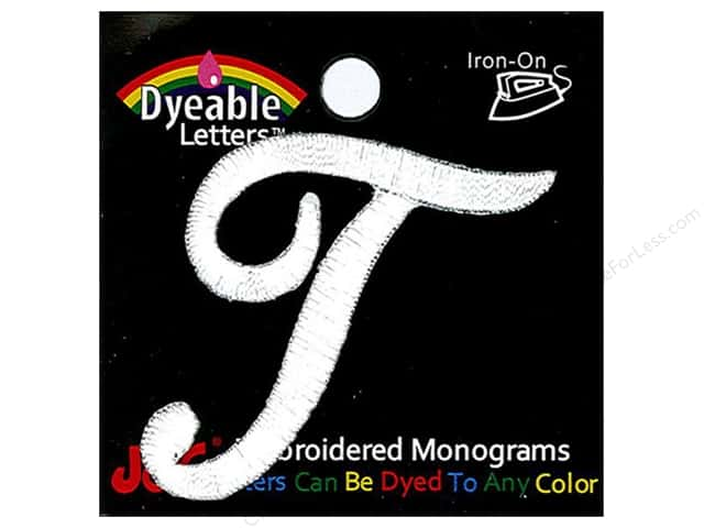 "Joy Lettershop Iron-On Embroidered Letter 1 1/2 in. Script ""T"" Dyeable"
