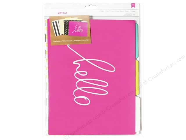 American Crafts Designer Desktop Essentials File Folders 6 pc. Hello