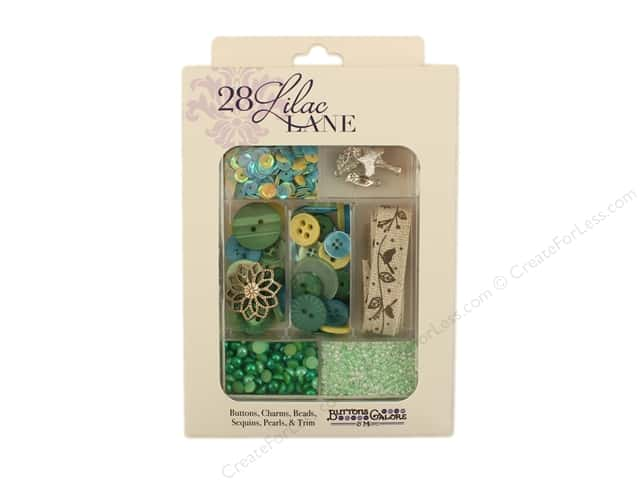 Buttons Galore 28 Lilac Lane Embellishment Kit New Leaf