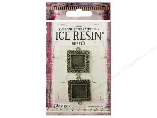 Ranger ICE Resin Milan Bezels 2 pc. Small Square Antique Bronze