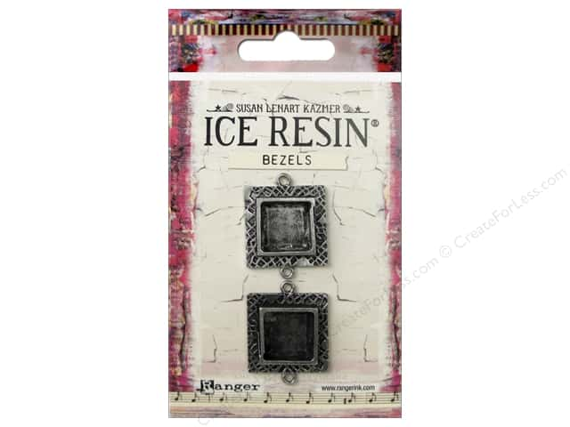Ranger ICE Resin Milan Bezels 2 pc. Small Square Antique Silver