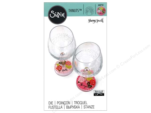 Sizzix Thinlits Die 1 pc. Rose Lace Wine Stem Name Label