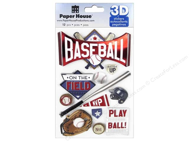 Paper House Sticker 3D Baseball Batter Up
