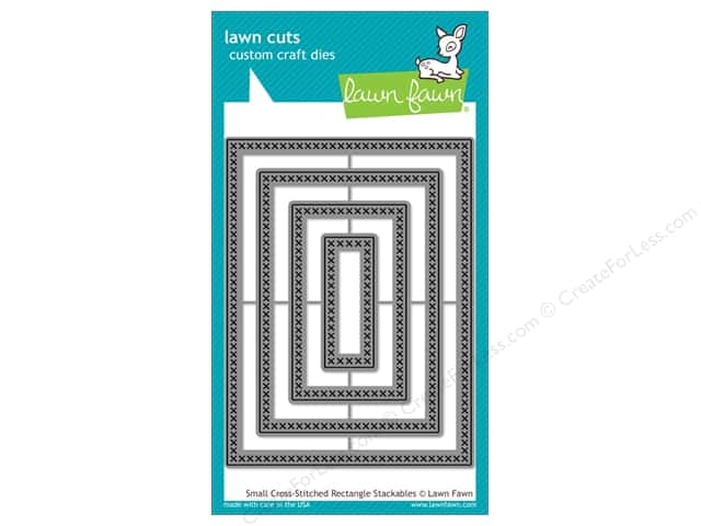 Lawn Fawn Cuts Die Cross Stitched Stackables Rectangle Small