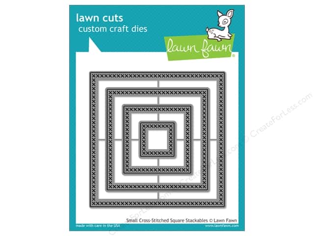 Lawn Fawn Lawn Cuts Craft Dies Small Cross-Stitched Square Stackables