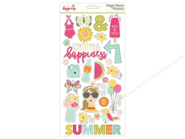 Simple Stories Adhesive Chipboard Sunshine & Happiness