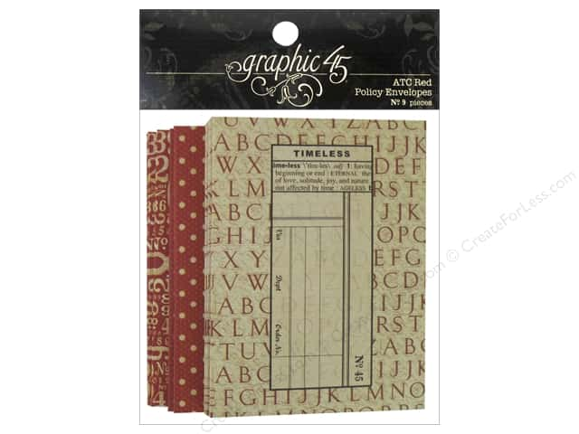 Graphic 45 Staples Policy Envelope ATC Red 9pc