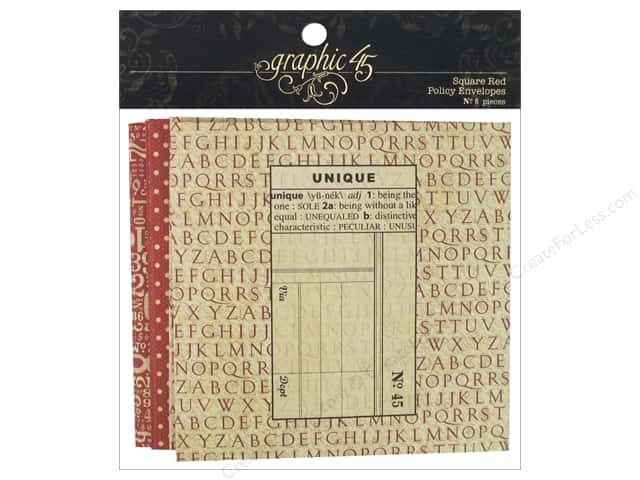 Graphic 45 Staples Policy Envelope Square Red 6pc