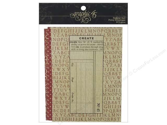 Graphic 45 Staples Policy Envelope Regular Red 6pc