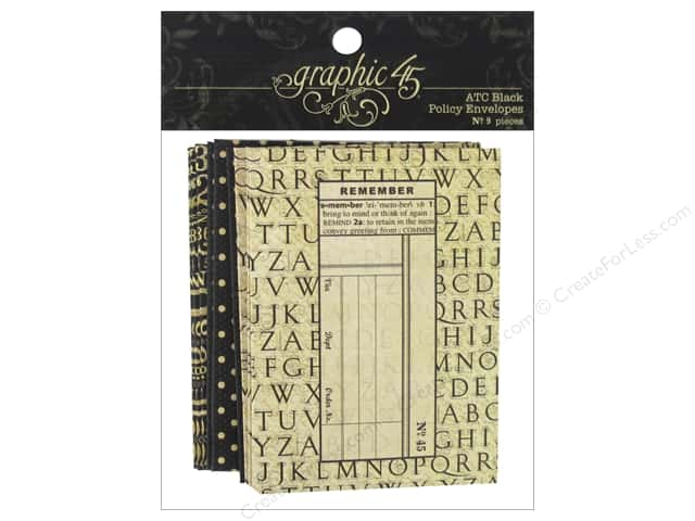 Graphic 45 Staples Policy Envelope ATC Black 9pc