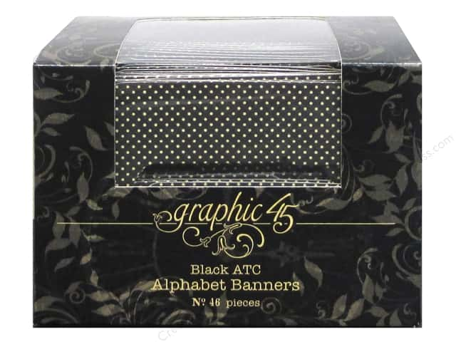 Graphic 45 Staples Alpha Banner ATC Black