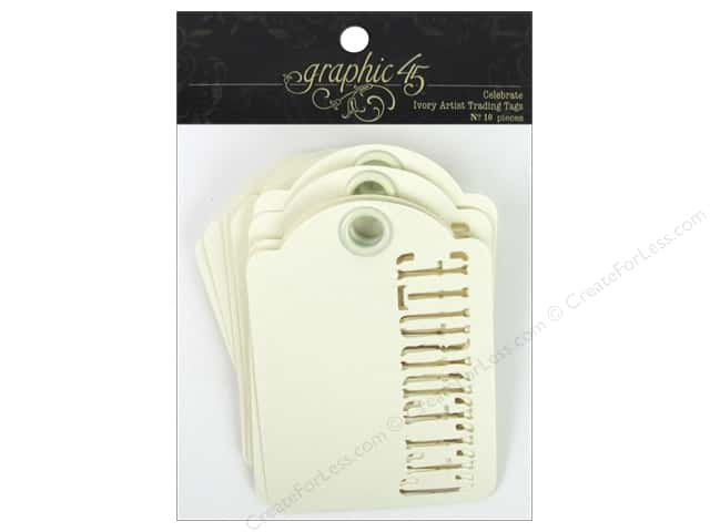 Graphic 45 Staples Tags Celebrate Ivory 10pc