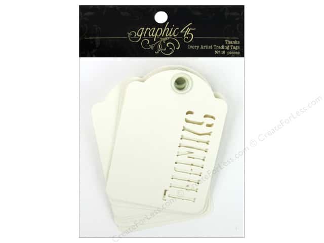Graphic 45 Staples Tags Thanks Ivory 10pc