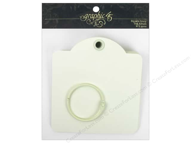 Graphic 45 Staples Tags Square Ivory 9pc