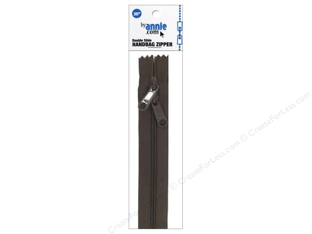 By Annie Handbag Zippers Double Slide 30 in. Seal Brown
