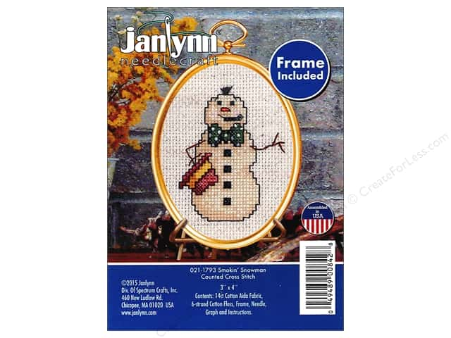 Janlynn Cross Stitch Kit Ornament Smokin' Snowman