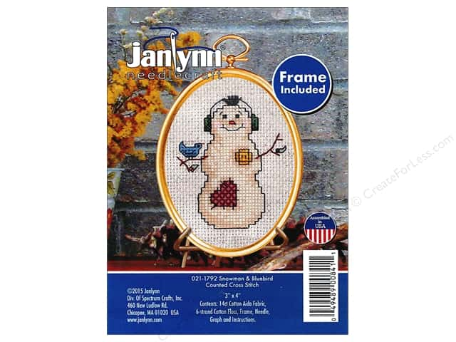 Janlynn Cross Stitch Kit Ornament Snowman & Bluebird