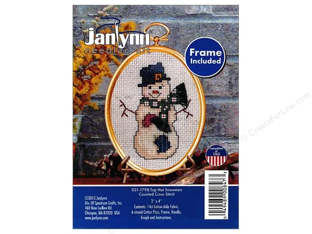 Janlynn Cross Stitch Kit Ornament Top Hat Snowman