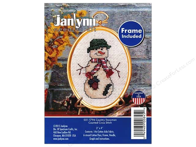 Janlynn Cross Stitch Kit Ornament Country Snowman