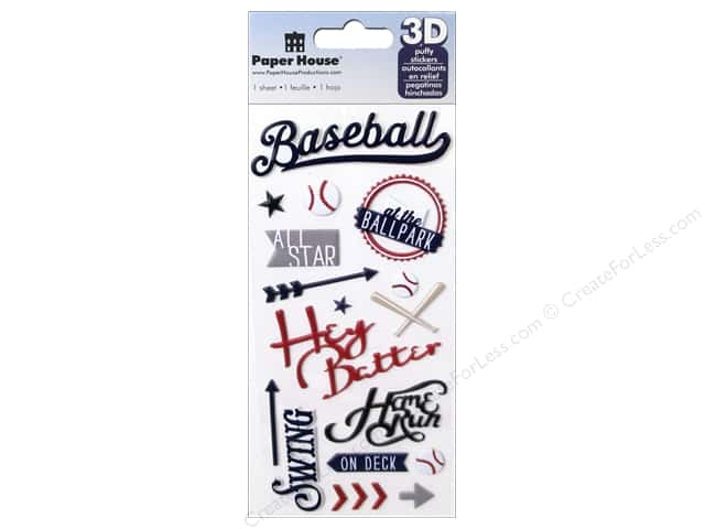 Paper House Sticker 3D Puffy Baseball Hey Batter