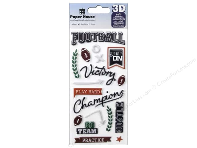 Paper House Sticker 3D Puffy Football Play Hard