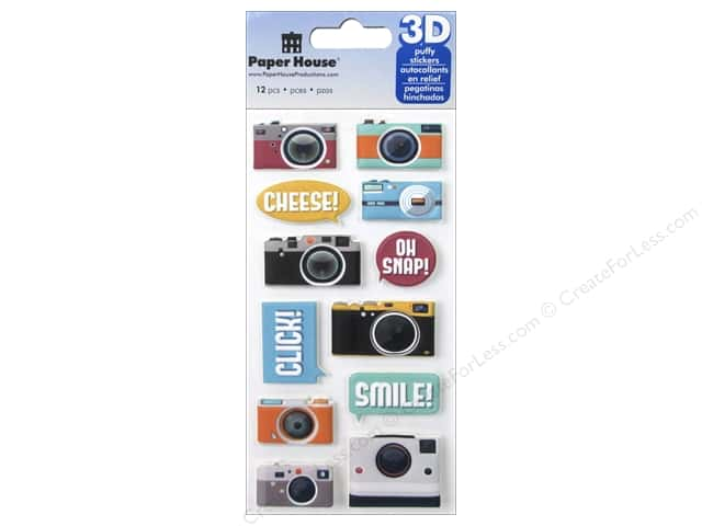 Paper House Sticker 3D Puffy Cameras