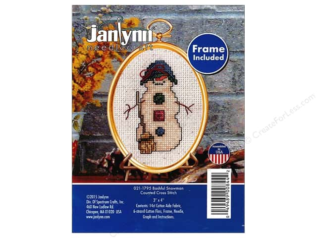 Janlynn Cross Stitch Kit Ornament Bashful Snowman