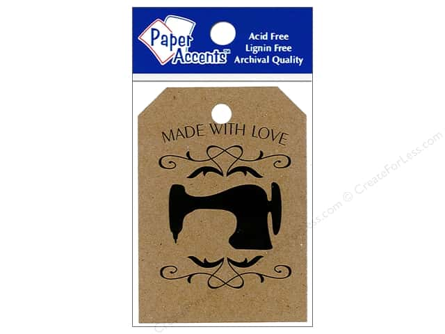 "Paper Accents Craft Tags 2.125""x 3"" 25pc Sewing Machine Brown Bag"