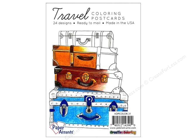 Paper Accents Creative Coloring Postcards 24 pc.Travel