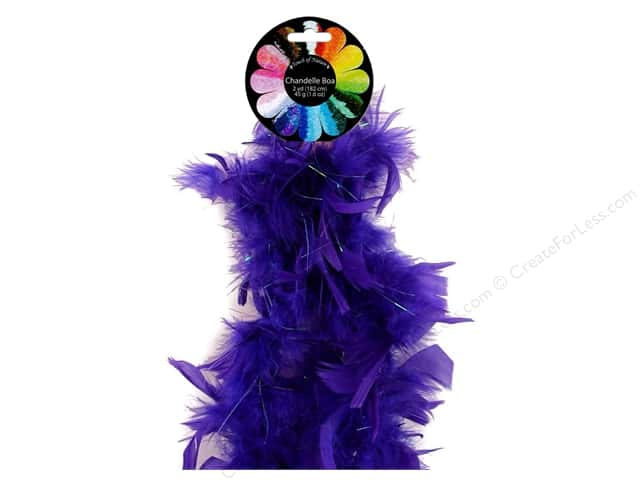 Midwest Design Turkey Flat Chandelle Mini Feather Boa 48 in. Purple