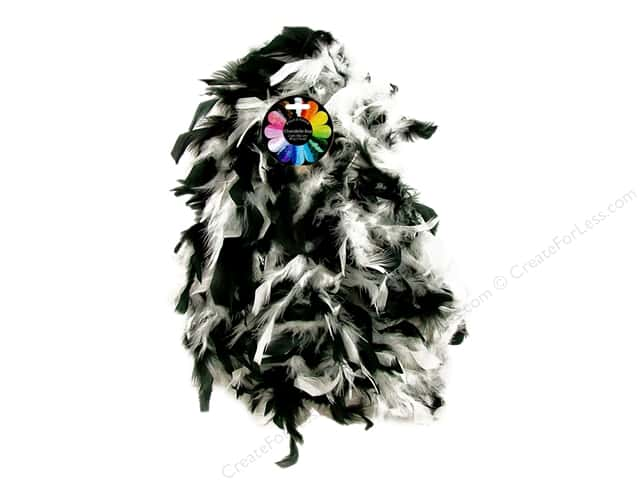 Midwest Design Turkey Flat Chandelle Feather Boa 2 yd. Black & White