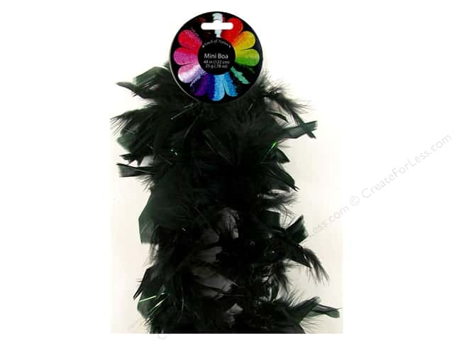 Midwest Design Turkey Flat Chandelle Mini Feather Boa 48 in. Black
