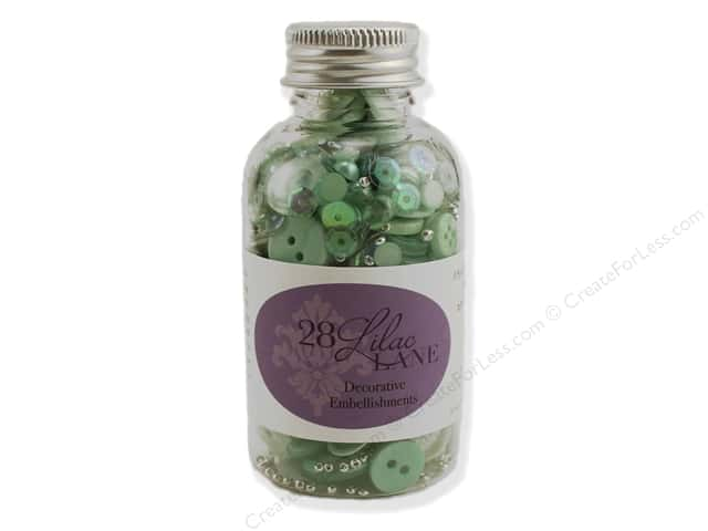 Buttons Galore 28 Lilac Lane Embellishment Bottle Minty Fresh