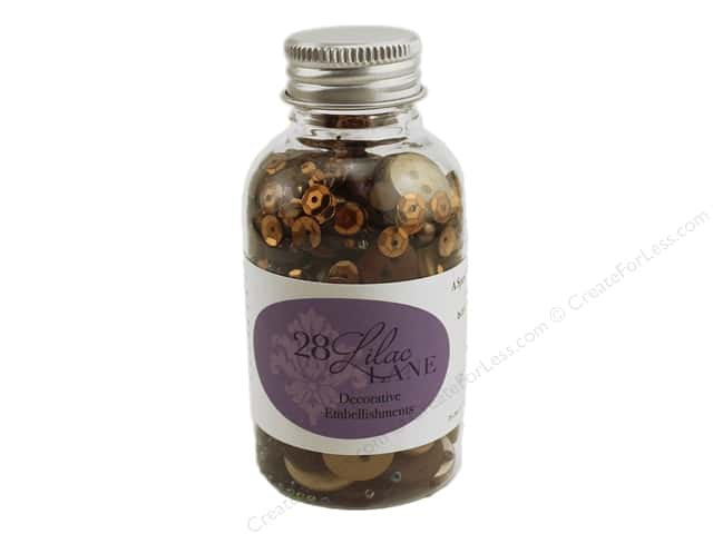 Buttons Galore 28 Lilac Lane Embellishment Bottle Toasted Graham