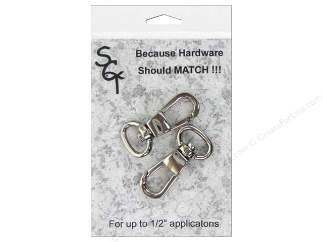 "Sisters Common Thread Hardware Swivel Clip .5"" Nickel 2pc"