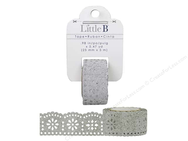 Little B Decorative Paper Tape 1 in. Silver Glitter Lace