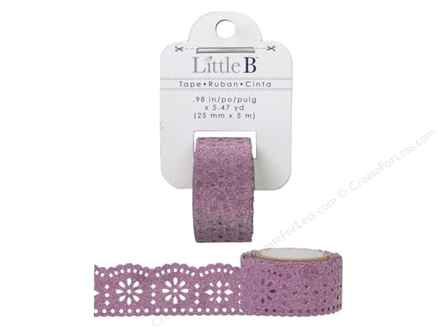 Little B Decorative Paper Tape 1 in. Pink Glitter Lace